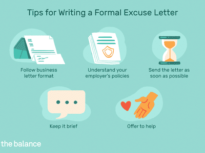 This illustration list tips for writing a formal excuse letter including