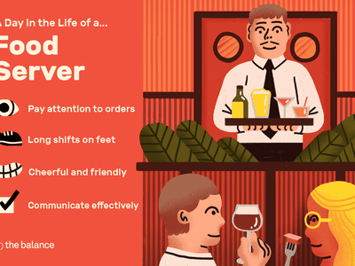 Image shows a waiter holding a tray of cocktails, overlooking a couple eating in a restaurant. Text reads:
