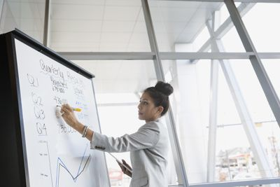 Businesswoman writing on whiteboard in conference room