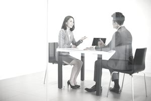 Business person talking in meeting room