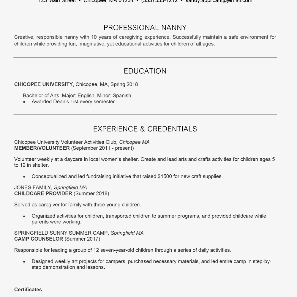 nanny resume resume sample word valid graduate resume template word