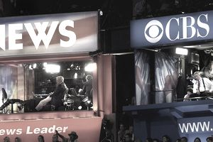 NBC and CBS broadcast booths at a political convention