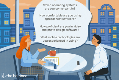 This illustration includes computer skills interview questions such as