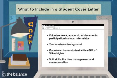 This illustration shows what to include in a student cover letter such as
