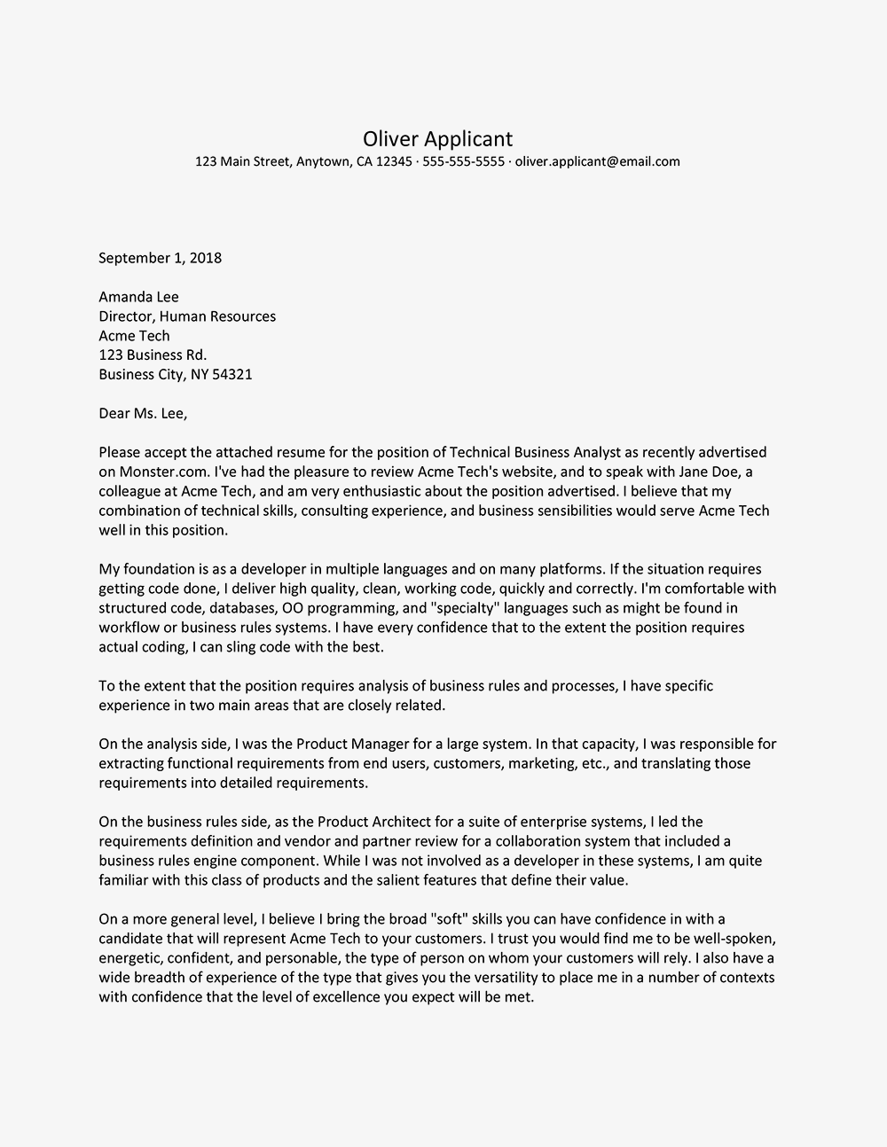 Sample Technical Cover Letter with a Referral