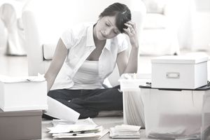 Woman organizing papers