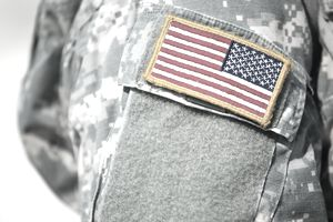American flag patch on army uniform