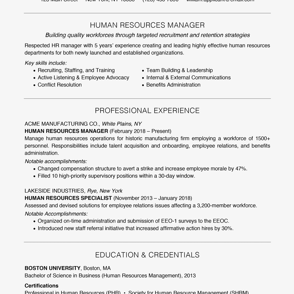 resume example focusing on relevant skills text version