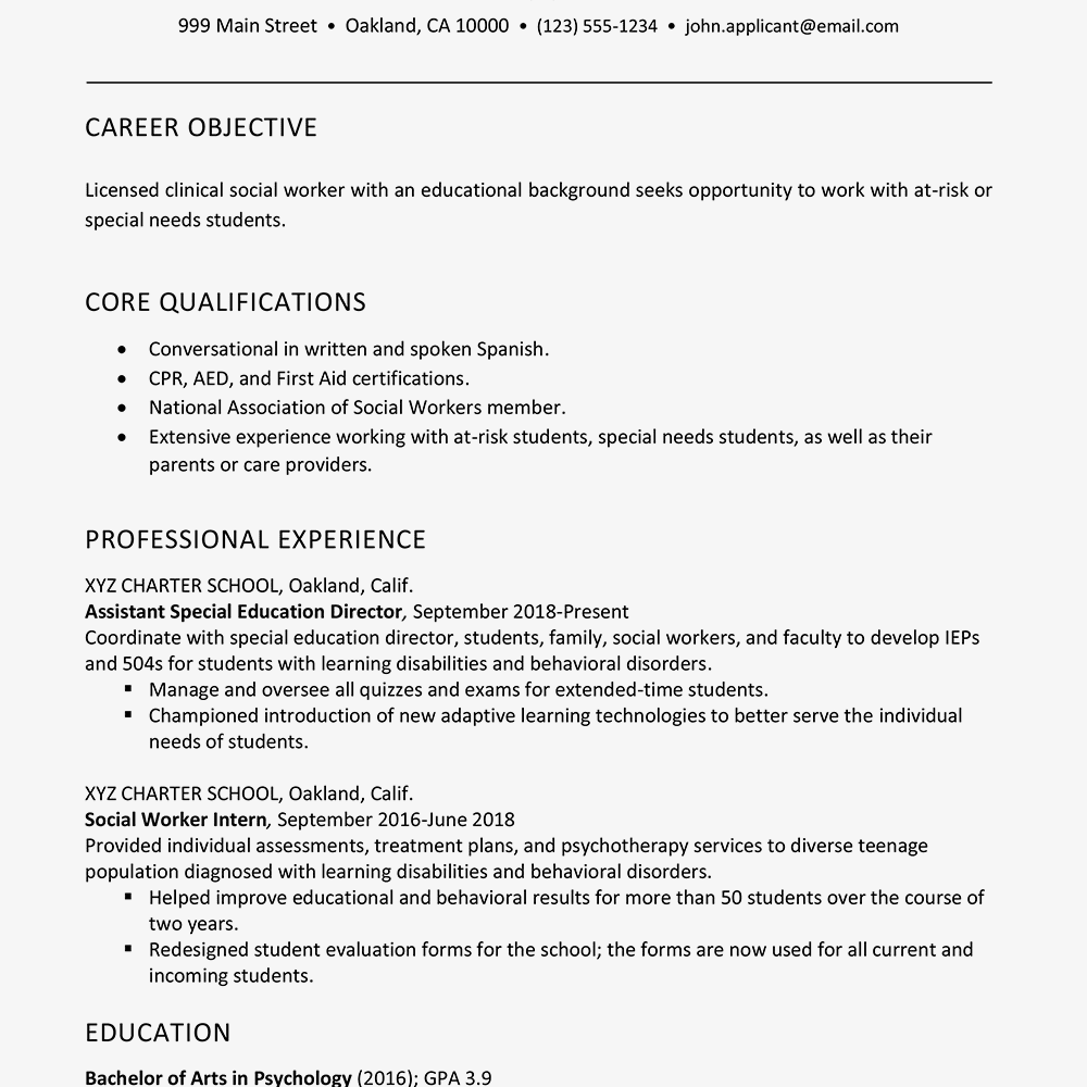 social worker resume example and writing tip