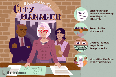 A day in the life of a city manager: Ensure that city services are running smoothly and efficiently, Report to the city council, Oversee multiple projects and delegate tasks, Most cities hire from within for this role