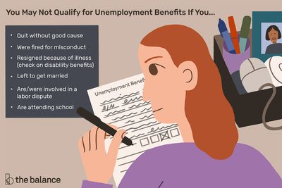 """This illustration describes why you may not qualify for unemployment benefits including """"Quit without good cause,"""" """"Were fired for misconduct,"""" """"Resigned because of illness (check on disability benefits),"""" """"Left to get married,"""" """"Are/were involved in a labor dispute,"""" and """"Are attending school."""""""