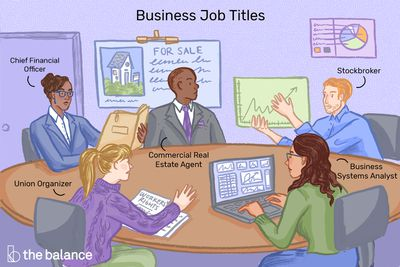 This illustration shows business job titles including