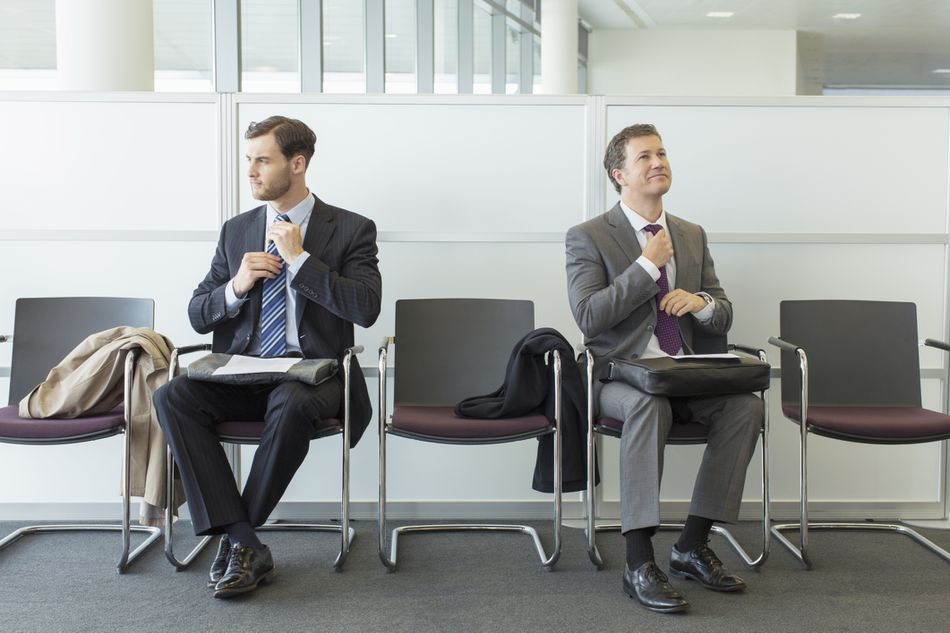 Men waiting for interview