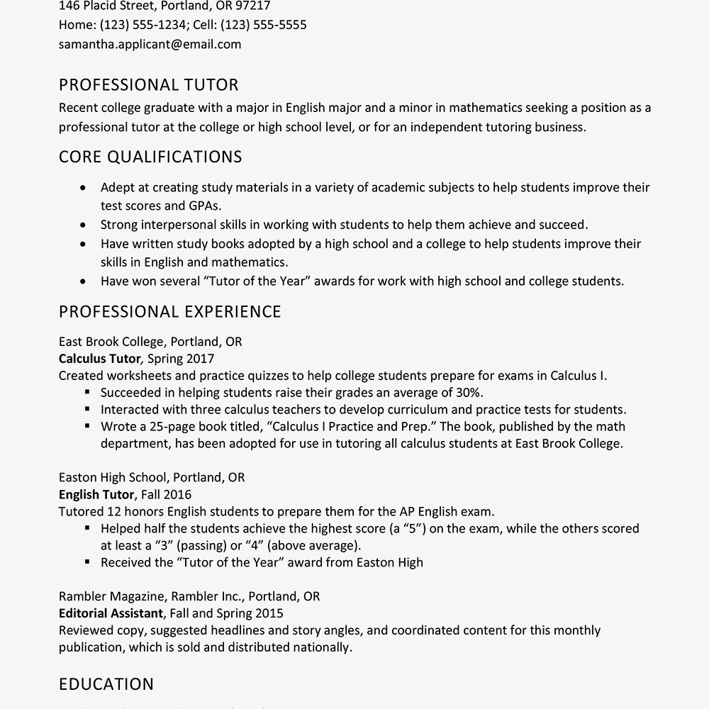 tutor resume and cover letter examples