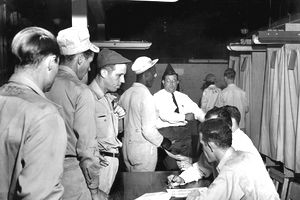 Workers voting to form a labor union.