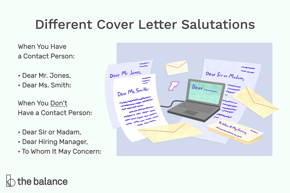 "This illustration shows different cover letter salutations including ""When You Have a Contact Person: Dear Mr. Jones, Dear Ms. Smith:,"" ""When You Don't Have a Contact Person: Dear Sir or Madam,"" Dear Hiring Manager,"" and ""To Whom It May Concern:"""