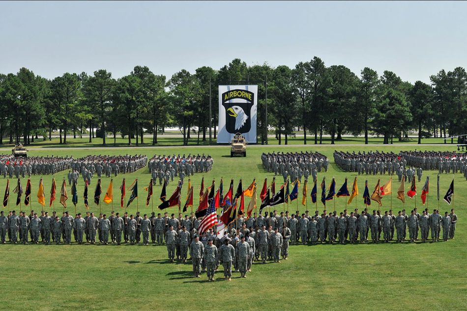 soldiers in parade formation at Fort Campbell, Kentucky