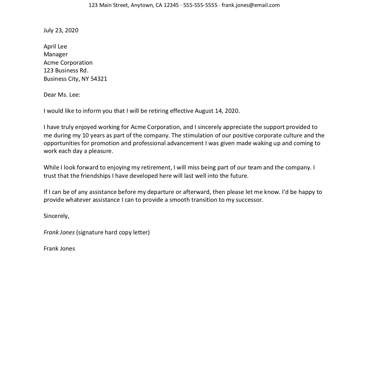 Retirement Resignation Letter Examples