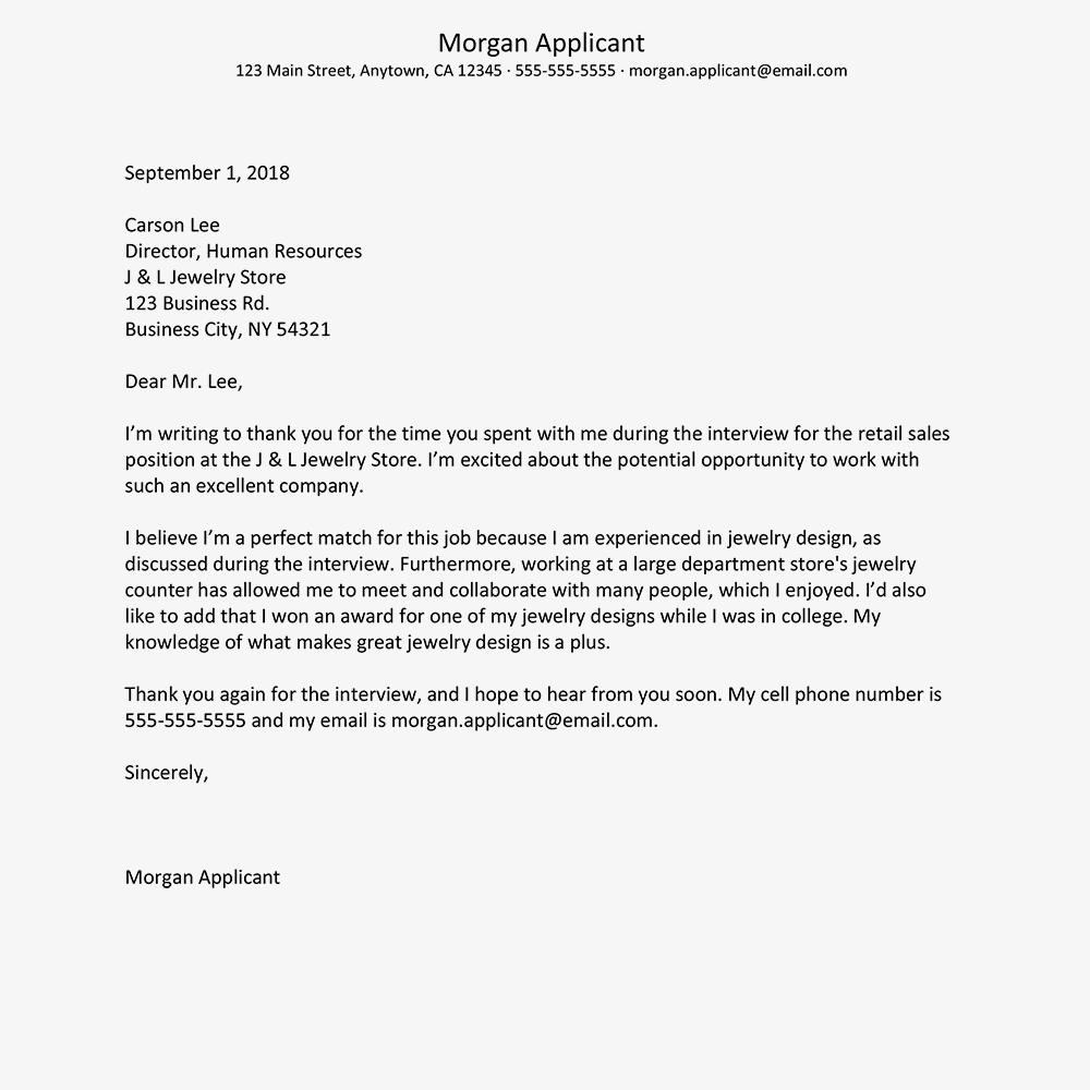 screenshot of a job interview thank you letter template