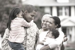 Marine officer and his family
