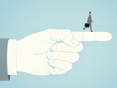 graphic of business man walking on top of a pointing hand giving him direction