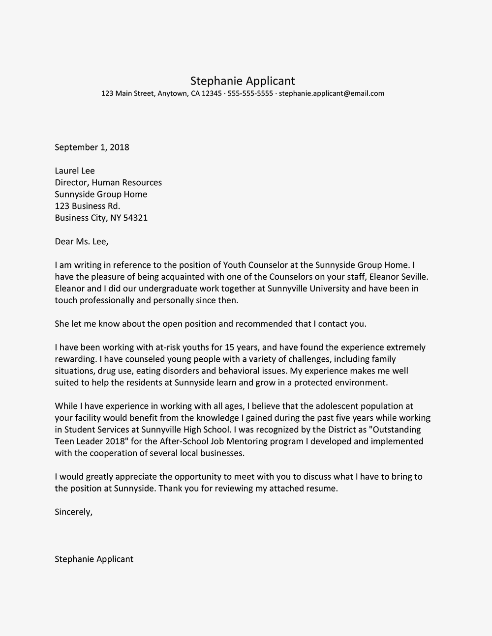 cover letter mentioning referral - Tosya.magdalene-project.org