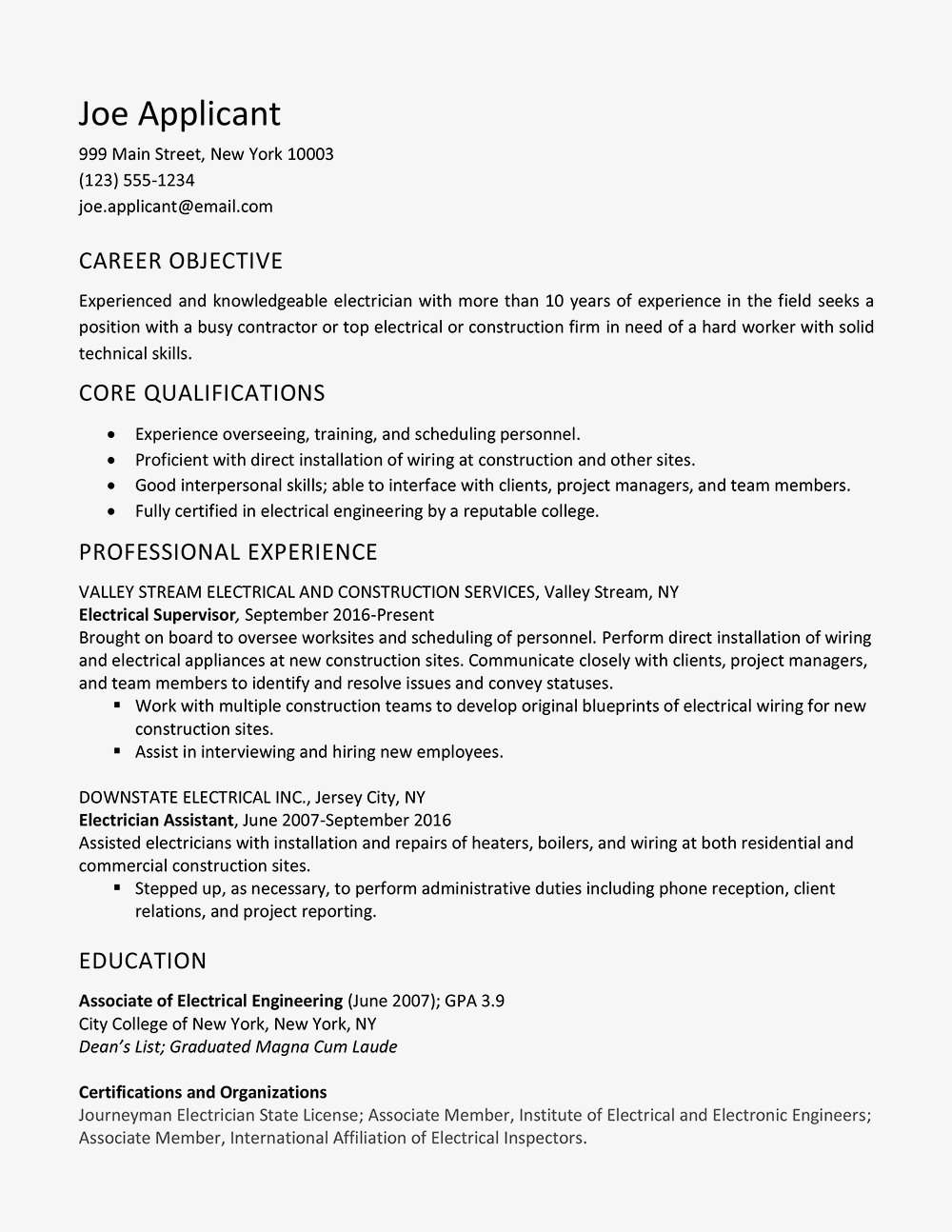Sample Electrician Resume And Skills List Automotive Wiring General Guide For Electrical Troubleshooting