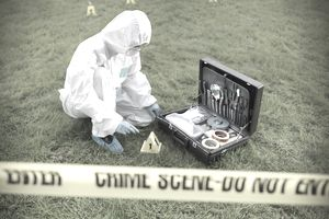 A forensic scientist jobs collecting samples from a grassy crime scene.
