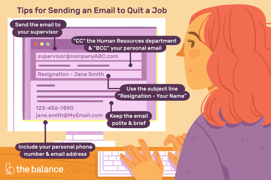 "This illustration features a handful of tips for sending an email to quit a job including ""Send the email to your supervisor,"" ""'CC' the Human Resources department & 'BCC' your personal email,"" ""Use the subject line 'Resignation - Your Name,"" ""Keep the email polite and brief,"" and ""Include your personal phone number & email address"""