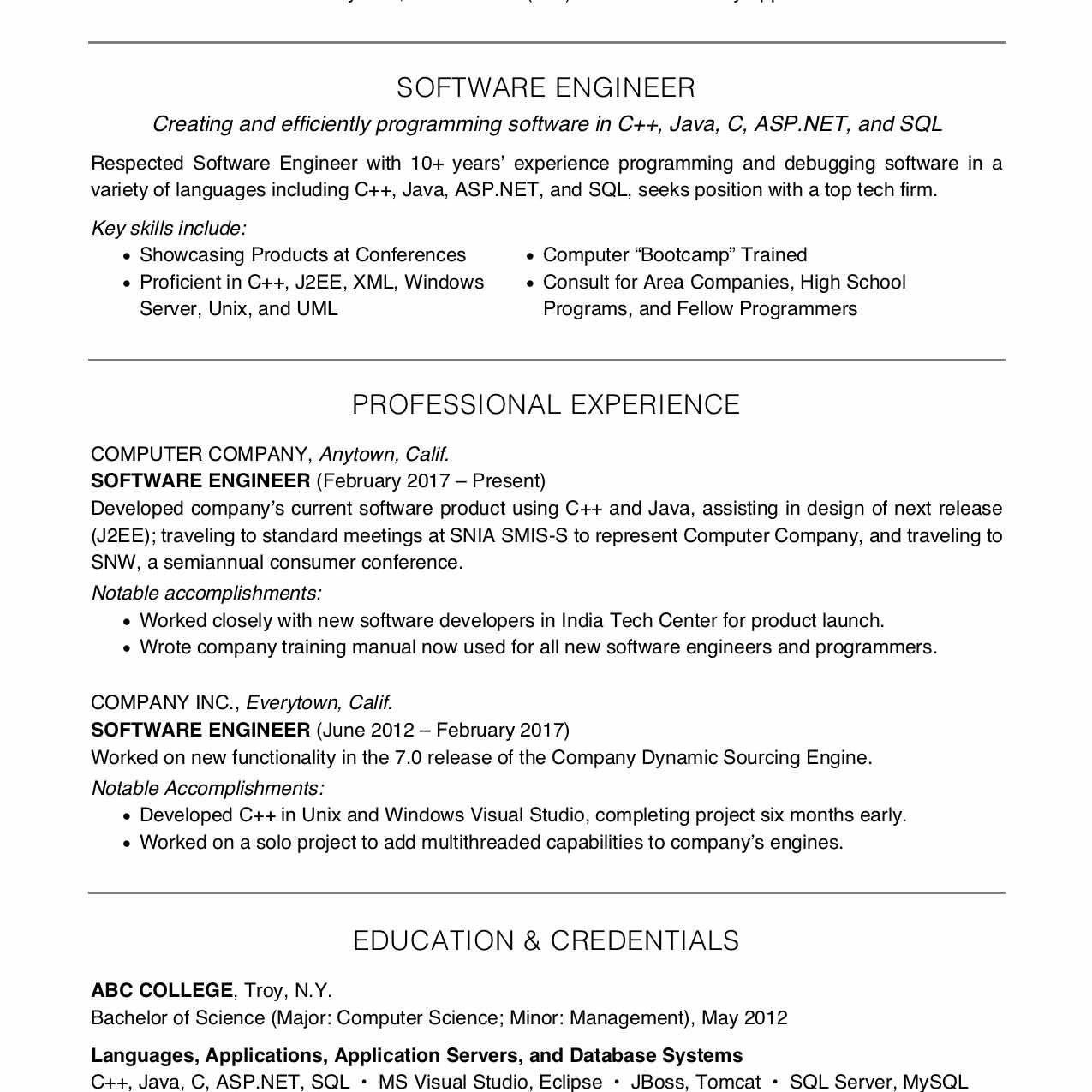 Screenshot of a resume for a software engineer or computer programmer