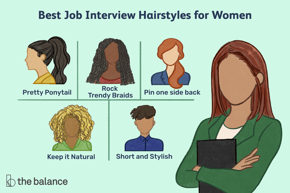 "This illustration shows best job interview hairstyles for women including ""Pretty Ponytail,"" ""Rock Trendy Braids,"" ""Pin one side back,"" ""Keep it Natural,"" and ""Short and Stylish."""