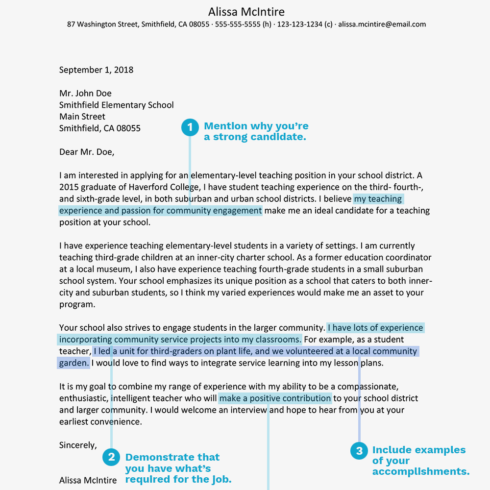 screenshot of a teacher cover letter example