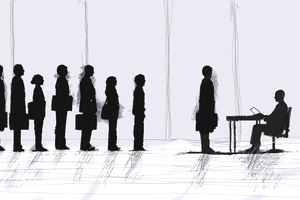 business people lined up for job interview