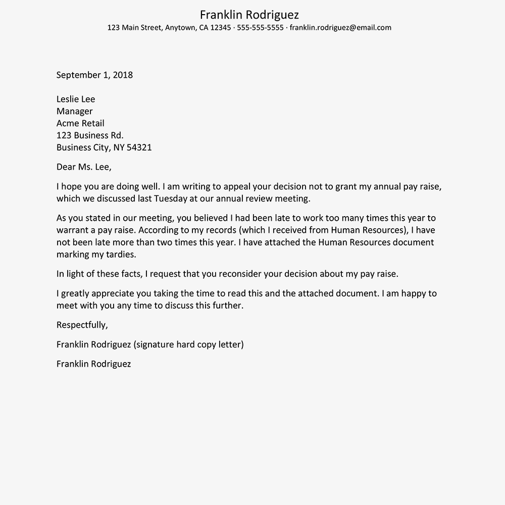 How to write an appeal letter sample appeal letter denied a raise text version expocarfo Gallery