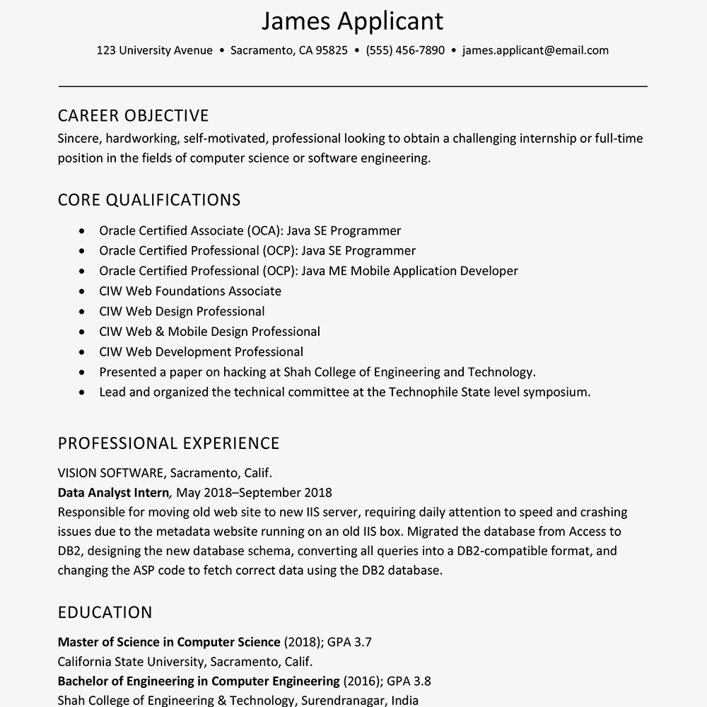 Computer Science Resume Sample | Sample Resume Of Experienced New Grad