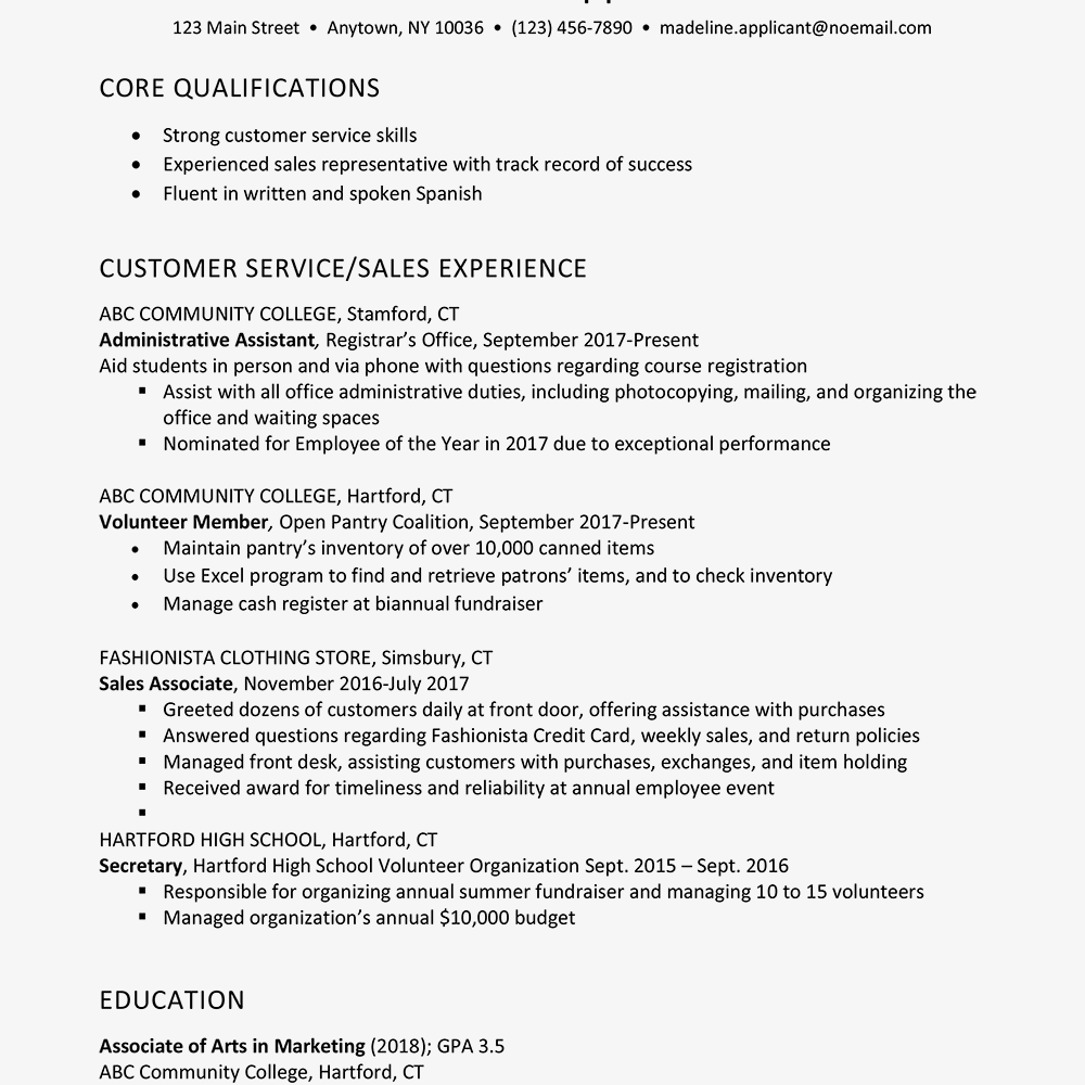 summer sales associate resume example