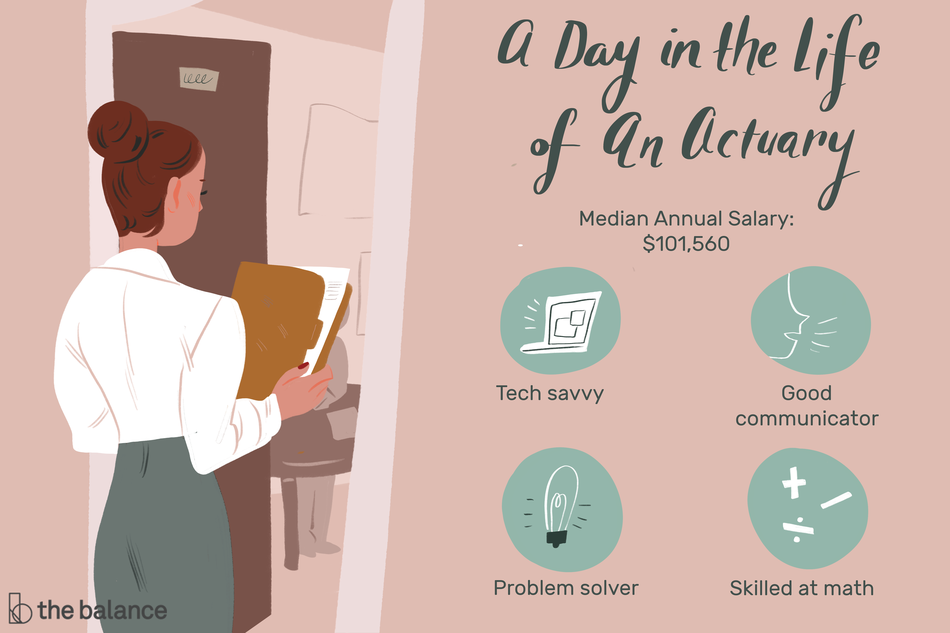 "Image shows a woman walking into an office holding a manilla folder. Text reads: ""A day in the life of an actuary: tech savvy, good communicator, problem solver, skilled at math, median annual salary: $101,560"""