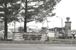The gated entry to Fort Leavenworth military prison.
