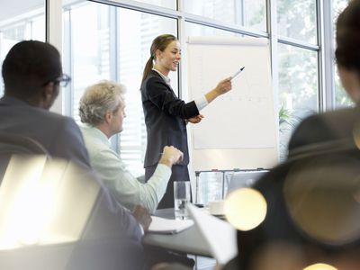 Businesswoman presenting to executives