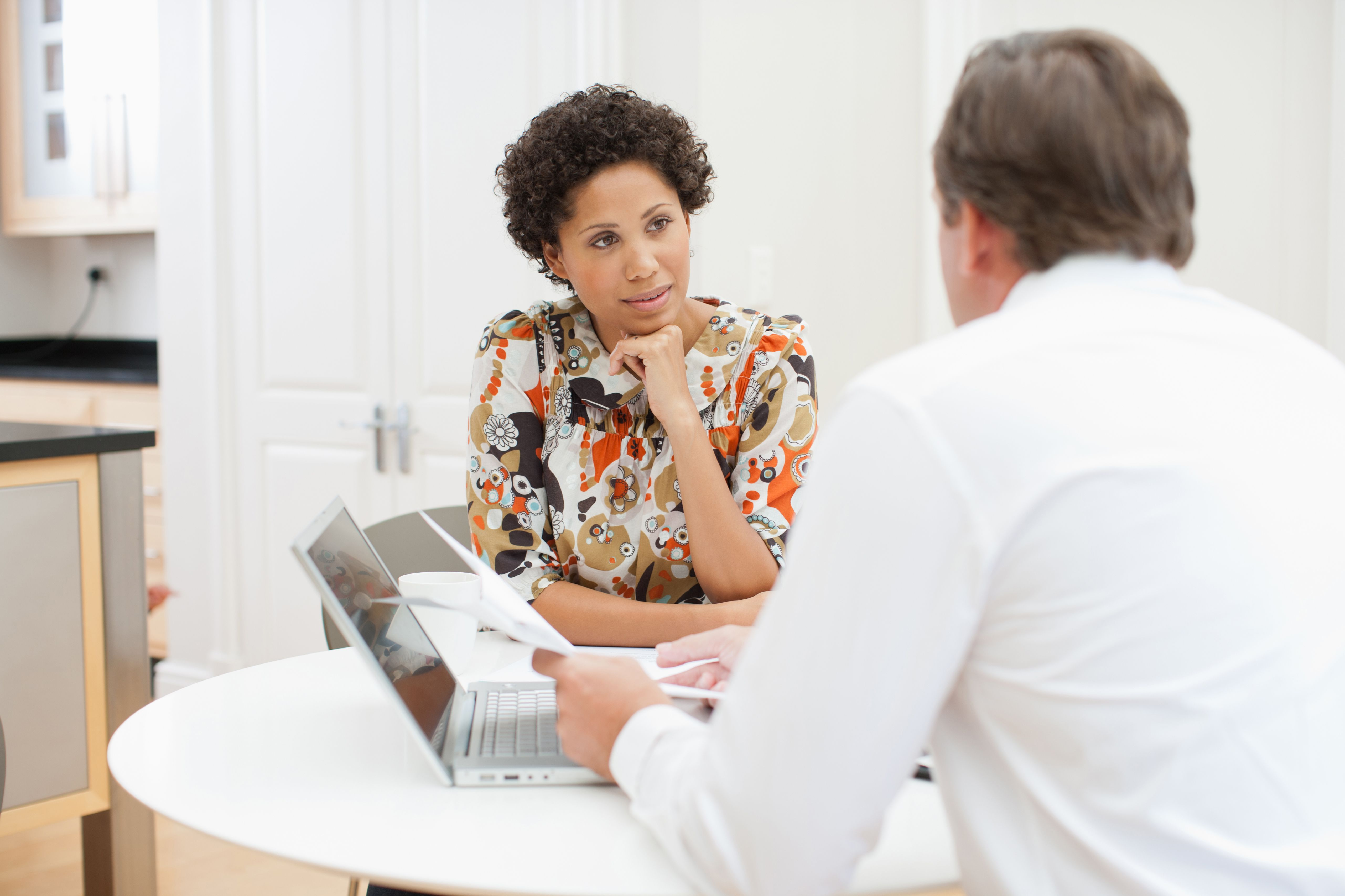 Woman in meeting with manager