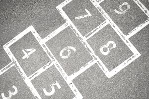 Hopscotch grid on pavement representing the concept of job hopping.