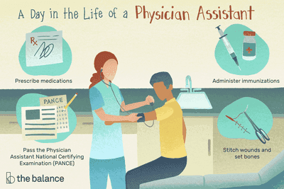 A day in the life of a physician assistant: Prescribe medications, Administer immunizations, Pass the Physician Assistant National Certifying Examination (PANCE), Stitch wounds and set bones