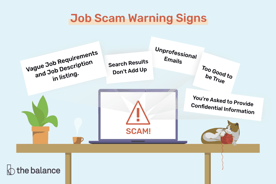 Job scam warning signs illustration