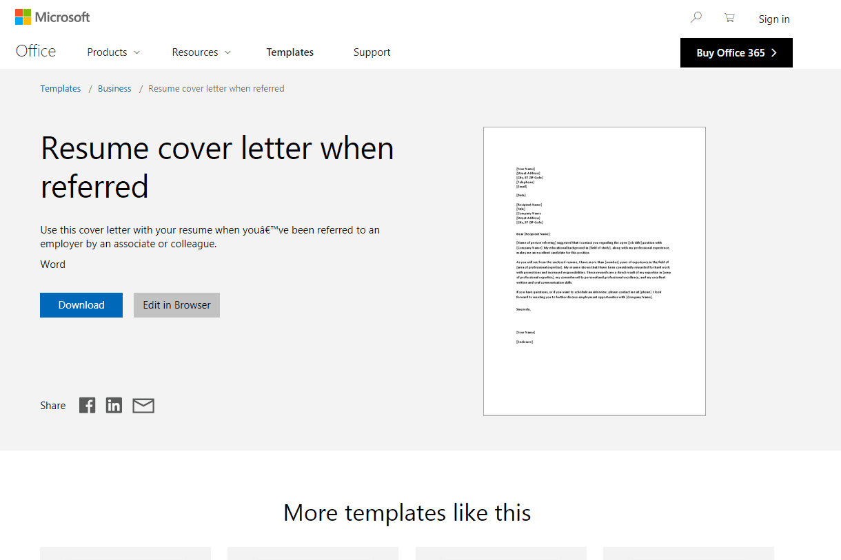 screenshot of an online resume and cover letter template from microsoft word