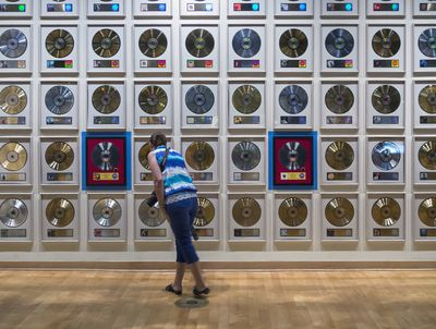 Silver, gold and platinum albums on display