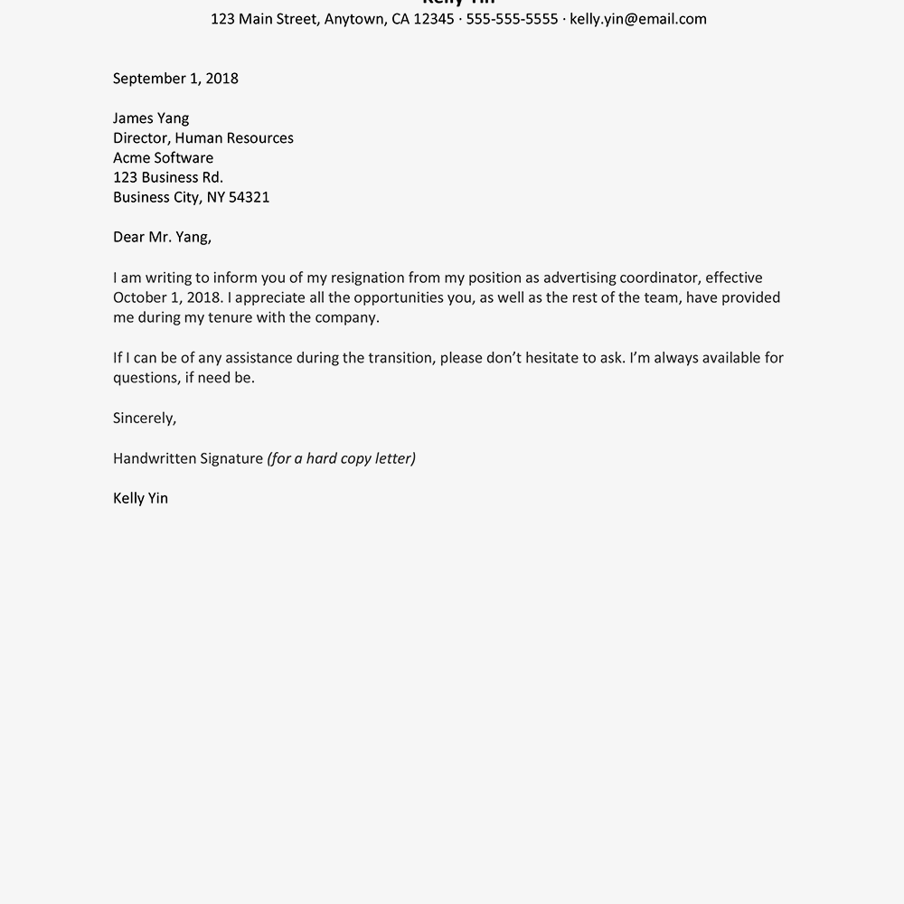 Screenshot Of A Resignation Letter Template