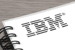IBM sign on a notebook