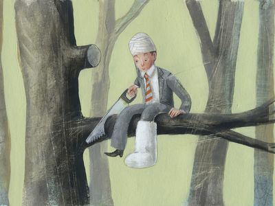 wounded man cutting down tree branch he is sitting on