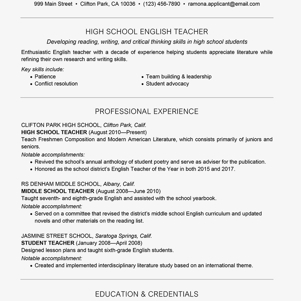 Screenshot of a teacher resume template