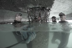 Army Divers work to repair a portion of the main port in Haiti.